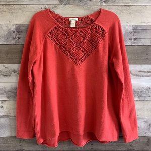 Sundance Coral Crochet Raw Hem Pullover Sweater